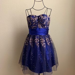 Blue and Gold Homecoming Dress